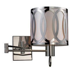 "Elk Lighting - Elk Lighting 10171/1 24"" Extension 1 Light Swing Arm Wall Sconce with a Drum Sha - 24"" Extension Contemporary / Modern 1 Light Swing Arm Wall Sconce with a Drum Shade from the Anastasia CollectionCaptivating arrays of ovals etched out of a single sheet of steel are silhouetted by a light silver fabric diffuser on the inside of this drum shaped series.  Completed with an impeccable polished nickel finish.Features:"