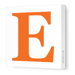 """Avalisa - Letter - Upper Case 'E' Stretched Wall Art, 18"""" x 18"""", Pumpkin - Spell it out loud. These uppercase letters on stretched canvas would look wonderful in a nursery touting your little one's name, but don't stop there; they could work most anywhere in the home you'd like to add some playful text to the walls. Mix and match colors for a truly fun feel or stick to one color for a more uniform look."""