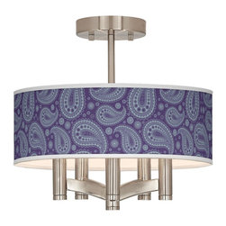 "Giclee Glow - Traditional Purple Paisley Linen Ava 5-Light Nickel Ceiling Light - Sleek and elegant this beautiful ceiling light will make your home glow with style. A brushed nickel finish complements the clean lines while five lights make this fixture a delightfully bright and versatile choice for any style of home decor. This stylish fixture is custom made to order and features a beautiful Purple Paisley pattern giclee-printed onto the drum shade. U.S. Patent # 7347593. Brushed nickel finish. Purple Paisley pattern printed shade. Semi-flushmount design. Five 60 watt candelabra bulbs (not included). 14"" wide. 13 1/2"" high. Shade only is 14"" wide 5"" high. Canopy is 5"" wide.  Brushed nickel finish.  Purple Paisley pattern printed shade.  Semi-flushmount design.  Five 60 watt candelabra bulbs (not included).  14"" wide.   13 1/2"" high.   Shade only is 14"" wide 5"" high.   Canopy is 5"" wide."