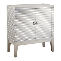 None - Foxy 2-door Mirrored Chest - Stunningly simple, this glitzy accent chest will bring a contemporary touch to your space. This elegant chest features two doors with hidden adjustable shelves, strips of mirrors with metallic finish, and brushed nickel finished door pulls.