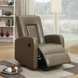 None - Aria Chair Acorn Recliner - Recline in contemporary style with this eye-catching chair with its sleek line work and smooth upholstery. The bonded leather is finished in a graceful brown that is perfect for your entertainment or living room.