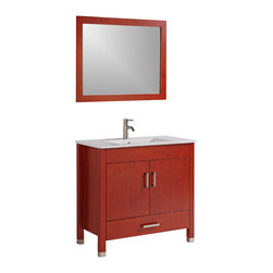 """Legion Furniture - 36 Inch Transitional Single Sink Bathroom Vanity - This 36 inch Transitional Single sink bathroom vanity is a perfect center piece for your bathroom project.  This Cherry bathroom vanity features 2 Doors, 1 Drawer; Soft Close Hinges and Guides , and a White Ceramic with Integrated Sink counter top with a Integrated White Ceramic sink that is Pre-Drilled for Single Hole Faucet (Included). Large opening in back for easy plumbing installation.  Dimensions: 36""""W X 20""""D X 36""""H (Tolerance: +/- 1/2""""); Counter Top: White Ceramic with Integrated Sink; Finish: Cherry; Features: 2 Doors, 1 Drawer; Soft Close Hinges; Hardware: Brushed Nickel; Sink(s): Integrated White Ceramic; Faucet: Pre-Drilled for Single Hole Faucet (Included); Assembly: Light Assembly Required; Large Cut Out in Back for Plumbing; Included: Cabinet, Sink, Brushed Nickel Faucet, Mirror (35"""" W X 1""""D X 27.5""""H); Not Included: Backsplash"""