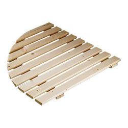Gedy - Natural Wood Shower Platform - Rounded wood shower platform for the corner.