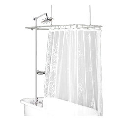 Renovators Supply - Shower Surrounds Chrome Lever Tub faucet Rect Shower Surround - Inside Tub Wall-mount: Complete vintage tub shower package for a traditional bathroom look. Includes Rectangular Surround made of sturdy chrome-plated brass tubing 3/4 in. thick. Wall and ceiling braces can easily be cut smaller to measure. Adjustable Riser Shower and luxurious Rainfall Showerhead. Traditional faucet and lever diverter made of tarnish-resistant chrome-plated brass and Drip-free Ceramic 1/4 turn valve. NOTE: For inside tub wall installation ONLY.