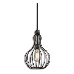 Grandin Road - Bourret Pendant Light - Metal-cage silhouette hanging pendant light. Quality-crafted from metal with an antique black finish. Ceiling plate and wire for installation included. Assembly required, including hardwire installation. 60W antique-style tubular bulb included. Light up your kitchen, dining room, or rathskeller with a classic vintage-style pendant. The wire silhouette cage is supported by an antiqued black metal rod.. . . . . .
