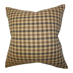 """The Pillow Collection - Harbor Plaid Pillow Brown 18"""" x 18"""" - Bring out a homey vibe to your interiors with this suave accent pillow. Toss it on the sofa, couch or bed for comfort and texture. This square pillow features a classic plaid pattern in shades of brown and black. Mix and match with other plaid patterns from our pillow collection for a sleek interior look. Made with high-quality wool material and constructed in the USA. Hidden zipper closure for easy cover removal.  Knife edge finish on all four sides.  Reversible pillow with the same fabric on the back side.  Spot cleaning suggested."""