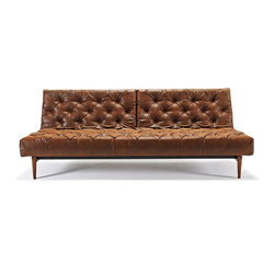 Innovation USA - Innovation USA Oldschool Chesterfield Sofa - Dark Wood Legs - Vintage Brown Leat - Fresh and contemporary Chesterfield sofa with multifunctions and modularity.