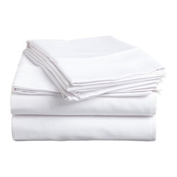 300 Thread Count Egyptian Cotton King White Solid Sheet Set - Experience true 100% Egyptian Cotton luxury when you sleep on these 300 Thread Count sheets.  An affordable luxury that drapes beautifully on the bed. This set includes One Flat Sheet 108x102, One Fitted Sheet 78x80, and Two Pillowcases 20x40 each.