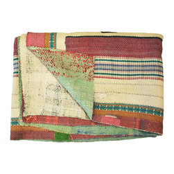Modelli Creations - One of a Kind Vintage Sari Kantha Throw Quilt - This vibrant and colorful vintage sari kantha throw instantly brightens and refreshes your space. Meticulously handcrafted by skilled artisans in India, each quilt is one of a kind and like no other. Drape it over a chair for a bold touch or use as a unique bed spread.
