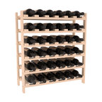 36 Bottle Stackable Wine Rack in Pine with Satin Finish - A pair of discounted wine racks allow double wine storage at a low price. This rack accommodates all 750ml bottles, Pinots and Champagnes. The quintessential DIY wine rack kit. Your satisfaction is guaranteed.