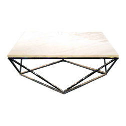 """Nuevo Living - Jasmine Coffee Table - Nothing says """"classic"""" quite like white marble — but you want a modern vibe, too. Done and done with this coffee table. Its angular stainless steel base and timeless top are a perfect match for your favorite setting."""
