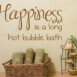 Decals for the Wall - Wall Decal Sticker Quote Vinyl Art Happiness is a Hot Bubble Bath Bathroom BA06 - This decal says ''Happiness is a long hot bubble bath''