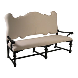 """Noir - Noir Marche Bench Hand Rubbed Black - Traditional flair meets one-of-a-kind style on the visually stimulating Noir Marche bench. Atop a classic black frame, the seating's back cotton cushion captivates with an exquisite curved design, while nailhead trim provides transitional panache along the bottom edge. 72""""W x 27""""D x 48""""H; Mahogany; Hand rubbed black finish; ; Finish will feature distressed characteristicsCotton fabric"""