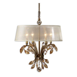 Alenya 4 Light Gold Metal Chandelier - *Burnished Gold Metal With Golden Teak Crystal Leaves And A Silken Champagne Sheer Fabric Shade.