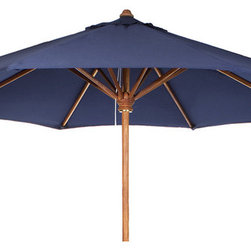 All Things Cedar - All Things Cedar TU90 Teak Umbrella - Green, White, Blue, Blue - Space saving Fold Up Design  2 inch Solid Teak Pole  10 Ft. Vented Canopy  Heavy Duty solid teak 8 Rib Cage  Solid Brass Pulley System      Colors:  White, Blue, Green  Dimensions:   120 x 120 x 96 in. (w x d x h)