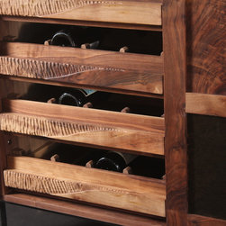 made to order - custom wine server - detail showing wine racks in all of the pullout trays.  Each tray can carry 4 bottles which allows for a 32 bottle total capacity.