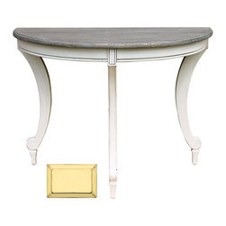 Tradewinds - Coastal Demilune Console Table, Butternut - Add this Siena Demilune console table to your guest room and bring practicality in the room decor. Made from fine quality material, it can be bolted together to create a spacious round table.