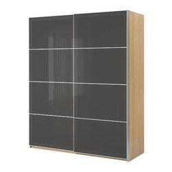 IKEA of Sweden - PAX Wardrobe with sliding doors - Wardrobe with sliding doors, birch effect, Uggdal gray