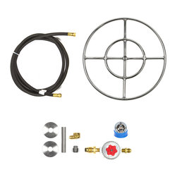 "Easy Fire Pits - 18"" Fire Ring Fire Pit Kit; D.I.Y. Complete Kit With Regulator & Hoses - 18"" fire ring complete fire pit kit; complete kit from 12' hose to burner ready to be hooked to your propane tank!  kit consists of:"
