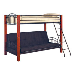 Coaster - Coaster Jonathan Wood and Metal Twin over Futon Bunk Bed in Black Finish - Coaster - Bunk Beds - 2249 -  The Haskell collection offers charming casual style for your youth or spare bedroom. This highly functional bunk beds can be reconfigured to meet your needs with a twin over futon option and the ability to separate the top and bottom bunks to create individual pieces. With gently curving black metal tubing and warm wooden bed posts these elegant pieces will add a soft touch to your home.  This lovely bunk bed will be a nice addition to the youth bedroom or spare bedroom in your home. The piece has a charming casual style with black metal tube ends featuring a gentle arch and diamond motif. Metal side guard rails will keep your child safe on the top bunk while an attached ladder makes it easy to get up and down. Rich medium wood posts at each corner soften the look. A futon below can be used as a sofa or folded down to a full size bed when guests arrive helping you create a multi-purpose space in your home. The top twin bed and futon can be separated and used individually to suit your needs and change with your family. Add this pretty bunk bed to your home for a warm and inviting look that everyone will love. Mattress and futon pad sold separately. Features: