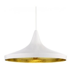 "Tom Dixon - Tom Dixon Beat Wide White Pendant Light - The Beat Wide White Pendant Light is designed by Tom Dixon and made by Tom Dixon. A spun brass shade with hand-beaten interior and finished with a high gloss white powder coat exterior. Both the interior and exterior are lacquered to prevent oxidization. Beat Light White is also available in Stout, Fat and Tall versions. The water carrying vessels that are still carried on heads all over India provided the first inspiration for this series of pendant lights. The Beat Light is made from hand beaten brass; using rapidly vanishing skills from Indian master craftsmen. Beat shades are formed by hand through spinning and beating techniques making each shape unique. The exterior has a high gloss white powder coat finish contrasting with the warm golden interior. Both interior and exterior are lacquered to prevent oxidation. Provides direct illumination.      Product Details:  The Beat Wide White Pendant Light is designed by Tom Dixon and made by Tom Dixon. A spun brass shade with hand-beaten interior and finished with a high gloss white powder coat exterior. Both the interior and exterior are lacquered to prevent oxidization. Beat Light White is also available in Stout, Fat and Tall versions. The water carrying vessels that are still carried on heads all over India provided the first inspiration for this series of pendant lights. The Beat Light is made from hand beaten brass; using rapidly vanishing skills from Indian master craftsmen. Beat shades are formed by hand through spinning and beating techniques making each shape unique. The exterior has a high gloss white powder coat finish contrasting with the warm golden interior. Both interior and exterior are lacquered to prevent oxidation. Provides direct illumination.  Details:     Manufacturer: Tom Dixon   Designer: Tom Dixon   Made in: United Kingdom   Dimensions: Diameter: 14.2"" (36 cm) X Height: 3.6"" (16 cm)   Light bulb: 1 x G9 Max 25W Frosted Halogen   Material: Beaten Brass"