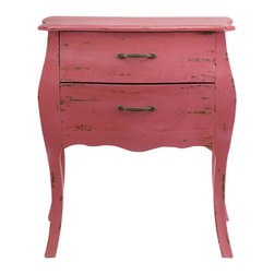 Dusty Rose Two-Drawer Chest - This chest of drawers has enough character to last a lifetime. Its country French styling, complete with an antique painted finish, is irresistibly charming.