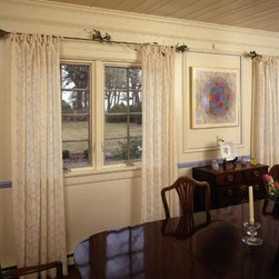 Window Treatments - Clipped sheer tabbed panels on custom iron rods and handpainted glass finails made from wineglasses.