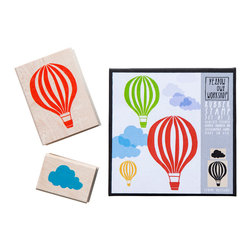 Yellow Owl Workshop - Hot Air Balloon & Cloud Stamp Set - Set of two natural rubber stamps with thick cushion, each mounted on a maple block.
