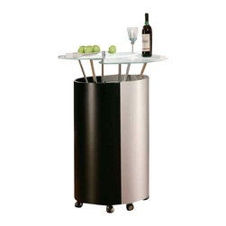 Global Furniture USA - M777-M Black & Silver Bar Unit Contemporary - The M777-BL/S bar unit features a modern design to become the center of the party. This bar unit is crafted from a mdf construction with a beautiful black & silver finish. Placed on top of the unit are two round glass tops perfect for drink holding. The unit opens and closes to reveal a ample storage area within.