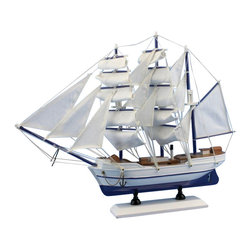 """Handcrafted Nautical Decor - Malibu Sailing Ship 15"""" - Wooden Sailboat Centerpiece - Sold fully assembled"""