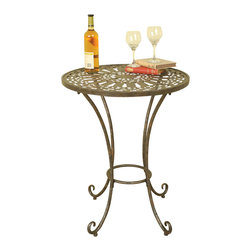 Welcome Home Accents - Metal Accent Table - Oil rubbed bronze round metal accent table with a metal open weave top and 4 metal scrolled legs and feet. Dust with a dry cloth. For Indoor use only. Made in China.  Some assembly required.