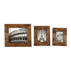 """Uttermost - Uttermost Hema Gold Photo Frames Set of 3 18555 - Stamped mango wood with silver leaf and gold leaf finish. Holds photos 4""""W x 6""""H, 5""""W x 7""""H, 8""""W x 10""""H. Frame sizes: Small size: 8""""W x 10""""H x 1""""D, Medium size: 9""""W x 11""""H x 1""""D, Large size: 12""""W x 14""""H x 1""""D."""