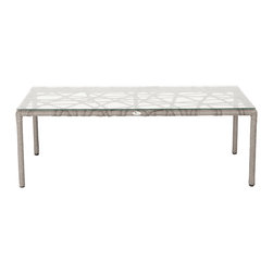 Eurostyle - Gazelle Glass Coffee Table-Clr/Tpe - This piece is sure to get the conversation started. Your guests will want to know what it's made of (feel free to tell them it's aluminum wrapped in polyethylene rattan). The design provides you a bit of eye candy while the glass top gives you the convenience you need in a coffee table.