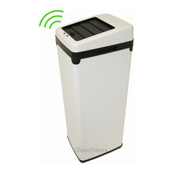 iTouchless - Automatic White Steel Touchless Trash Can SX - No need to touch our 52-inch touchless trash can. When your hands are full, simply hold them within six inches of the lid, which opens automatically. Your kitchen remains germ-free and odor-free. Use any 13 or 18 gallon trash bag; easy clean.