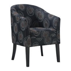 Coaster - Coaster Club Chair in Black Circle Pattern - Coaster - Club Chairs - 900436 - Add a modern touch to any room with this dark circle pattern accent chair.