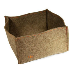 The Felt Store - Medium Storage Basket - 12 x 12 x 6.5 Inch, Gray - This trendy storage basket can hold anything from toys to magazines. Made of flexible, durable high grade felt. 12 inches square, and 6.5 inches deep.