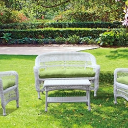 Fine Mod Imports - Portside White Outdoor Set with Green Cushion - The set includes two chairs, a loveseat, a coffee table and cushions. It is made of all weather resistant wicker.Features: