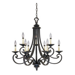 Designers Fountain - Designers Fountain Barcelona Traditional Chandelier X-IN-9309 - This Designers Fountain chandelier features clean lines and a classic design, thanks to the intricate scrollwork and traditional details. From the Barcelona Collection, it comes finished in an eye-catching Natural Iron hue. To complete the look, nine candelabra style lights have been used.