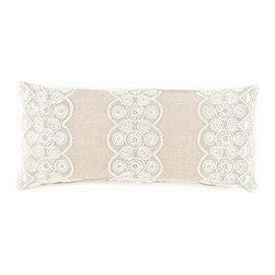 French Knot Double Boudoir Pillow - 15 x 35 - A soft background of woven linen fabric makes a superb backdrop for the open but intricate design of cotton embroidery that adorns the French Knot Double Boudoir Pillow.  Three broad, scallop-edged stripes of the pale stitching are worked over the wide rectangular pillow's chic surface, each band contributing to the fresh, lacy appearance of this classically lovely linen cushion.