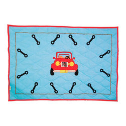 Wingreen - WinGreen Large Garage Floor Quilt - Our Garage Floor Quilt is appliqued and embroidered with a bright red car and just the right tools for the job!