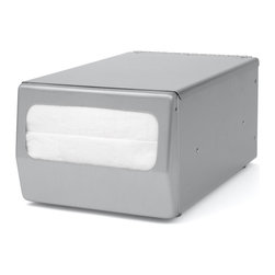"""Palmer Fixture - Counter-Top Fullfold Napkin Dispenser, Brushed Steel - The Counter-Top Napkin dispenser is constructed from brushed steel with soft rubber feet on the bottom that will not leave marks on your table. Designed for maximum durability and ease, they can be loaded from the top for quick refilling. They dispense one napkin at a time which helps to eliminate waste. Holds napkins with folded size dimensions of 6 1/2"""" L x 4 1/2"""" H and 3"""" fold height. Dimensions: 7 1/2"""" L x 6 1/4"""" W x 5 3/4"""" H"""