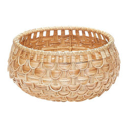 Lazy Susan - Small Natural Fish Scale Basket - The fish scale pattern on these baskets was inspired by a turn of the century wicker chair we spotted at a flea market. Over scaled and sturdy in a natural finish these baskets are sophisticated and functional.