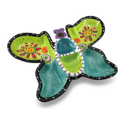 Zeckos - Colorful Whimsical Butterfly Ceramic Chip and Dip Serving Tray - This attention grabbing butterfly shaped chips 'n dip serving tray is a must-have piece for entertaining, after school snacks or even game day Made from ceramic, it'll add a colorfully whimsical accent whether presenting appetizers or accenting your decor, and boasts a glossy finish over stripes, polka dots and flowers. Measuring 10 inches long, 14 inches wide and 3 inches deep (25 X 36 X 8 cm), this one piece tray is recommended to hand wash, and makes a wonderful housewarming gift sure to be loved