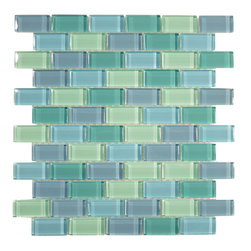 "Glass Tile Oasis - Turquoise Blue Blend 1"" x 2"" Green Crystile Blends Glossy Glass - Sheet size:  11 5/8"" x 11 3/4""        Tile Size:  7/8"" x 1 7/8""        Tiles per sheet:  66        Tile thickness:  1/4""        Grout Joints:  1/8""        Sheet Mount:  Mesh Backed     Sold by the sheet     -"