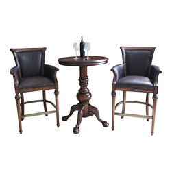 American Heritage - American Heritage Lothorio 3-Piece Pub Table Set w/ Federico Barstools in Suede - The Lothario pub table with the Frederico stool makes a statement in any home. The majestic high quality pub table with its intricately hand carving is very functional and offers a regal feel. It's heavy duty construction ensures this set will last a lifetime. This beautiful, stationary stool is the perfect addition to any conversation area. The Federico traditional bar stool features an exquisite, hand carved, wood frame finished in canyon and includes mortise and tenon construction for durability. The contoured backrest, 3-inch cushioned, web woven seat and armrests are upholstered in bonded porter brown leather adding style, support and comfort to this eye-catching piece. Set includes pub table and 2 stools.