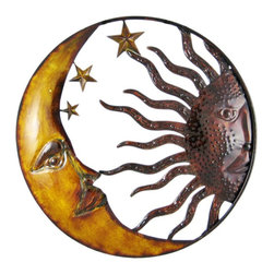 Zeckos - Celestial Hand Painted Sun Moon Metal Art Wall Hanging - This beautiful open work round hand-painted metal sun and moon wall hanging measures 20 1/2 inches in diameter. Featuring wonderful personality, with beautiful hand-painted earth tones, this wall hanging looks great on any wall, indoors and outdoors, and makes a great housewarming gift. This beautiful piece of metal art is brand new, never displayed.