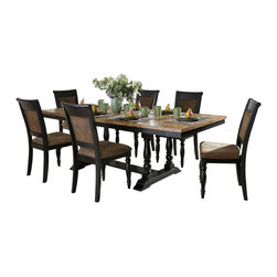 Homelegance - Homelegance Grisoni Trestle Dining Table in Two-Tone Finish - Rustic charm is inspired by cherished evenings spent with friends and family in the Grisoni Collection, lling your dining room with style and comfort. The two-tone finish of this dining offering provides a warm contrast between the natural finish of the acacia veneer tabletop and the distressed black of the trestle base. With unique table-end extension leaves, this tabletop expands to comfortably seat your dinner guests. Coordinating chairs are finished in distressed black featuring the look of bomber jacket microfiber with nailhead accent. The coordinating buffet server features drawer storage, along with lower open display shelf.