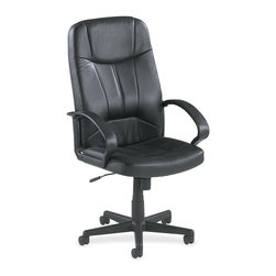 Lorell - Lorell Chadwick Executive Leather High-Back Chair - Leather Black Seat - Executive high-back chair offers a fully upholstered design with black, split leather for a rich classic look. Black frame has stylish open loop arms and five-star nylon base with casters for mobility. Functions include pneumatic seat-height adjustment from 17-3/4 to 21-1/4, 360-degree swivel, tilt, and tilt tension. High-back chair meets the CA117 fire-retardant standard.