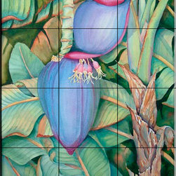 The Tile Mural Store (USA) - Tile Mural - Banana Blossom - Kitchen Backsplash Ideas - This beautiful artwork by Linda Lord has been digitally reproduced for tiles and depicts a nice tropical plant scene.  With our enormous selection of tile murals of plants and flowers you can bring your kitchen backsplash tile project to life. A decorative tile mural with plants and flowers is an impressive kitchen backsplash idea and decorative flower tiles also work great in the bathroom. Add splashes of color and life to your tile project with images of flowers on tiles and tiles with pictures of plants.