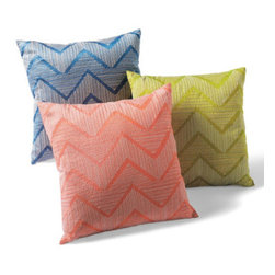 Grandin Road - Kyoto Throw Pillow - Throw pillow boldly embroidered with a natural-hued chevron design. Faux dupioni ground; solid faux dupioni backing. Hidden zipper. Polyfill insert included. Energize your seating with our chic chevron Kyoto Pillow, featuring bold, neutral embroidery on brilliant hues of faux dupioni.  .  .  .  . Imported.